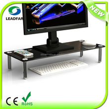 Elegant tempered glass monitor stand with detachable acrylic pillars