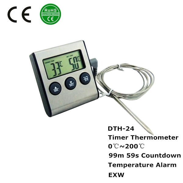 multifunction stainless steel probe type thermometer,probe type thermometer timer,probe type thermometer