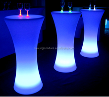 Cordless Interactive High Top RBG color changeable battery rechargeable outdoor light up led cocktail table
