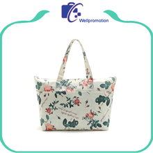 New fashion white flower printed canvas tote bags handbag