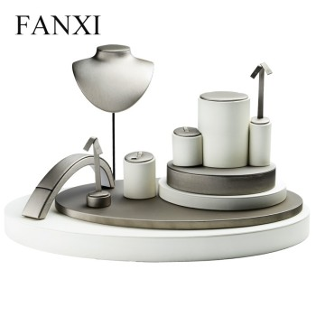 FANXI luxury leather display stand ring bracelet earring hanger necklace bust for counter showcase jewelry displays set
