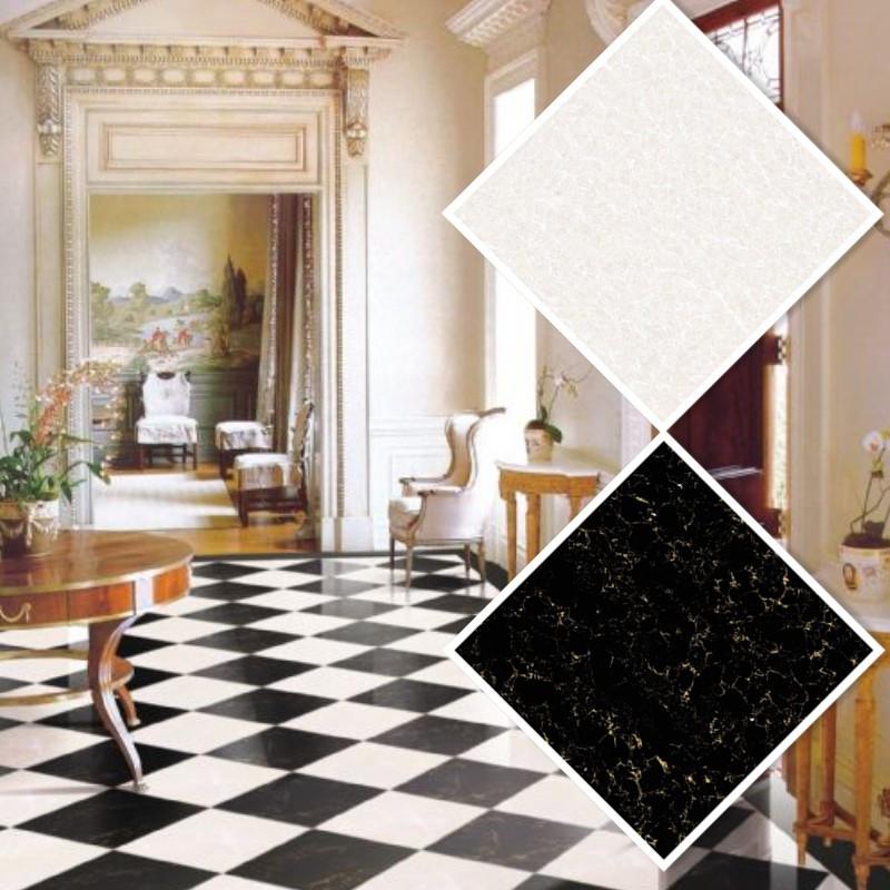 Polished black porcelain floor tiles