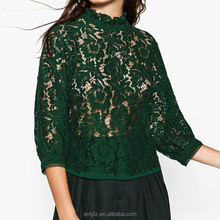 Wholesale latest fashion high back neck designs puff sleeves of guipure ladies lace blouse