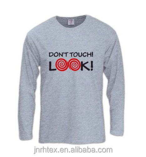 Funny tight fit men long sleeve collar gray t-shirt