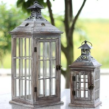 rustic wedding decor table wood lantern with metal top