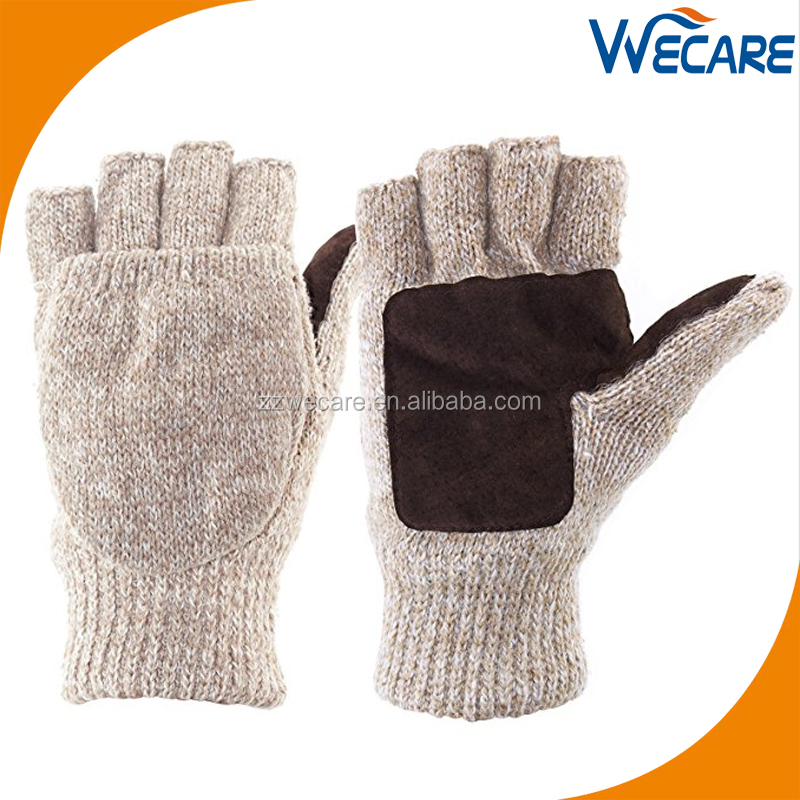Winter Outdoor Work Leather Palm Thinsulate Lining Mens Pure Wool Knitted Gloves