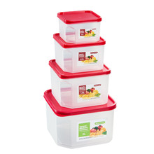 Big Size Square Food Storage Containers, Red, Set of 4