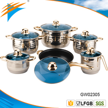 12pcs Mirror Polish Stainless Steel Milkpot Casserole Cookware Set Non stick Pan