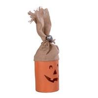 cute halloween exterior decorations retro artificial linen pumpkin light with small bells
