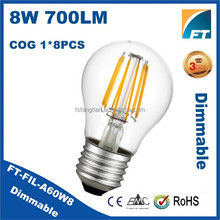 Foshan Led Lighting Dimmable led filament bulb 8w e27 warm white 110V 220V