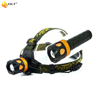 One used as two adjustable focus flashlight T6 head torch
