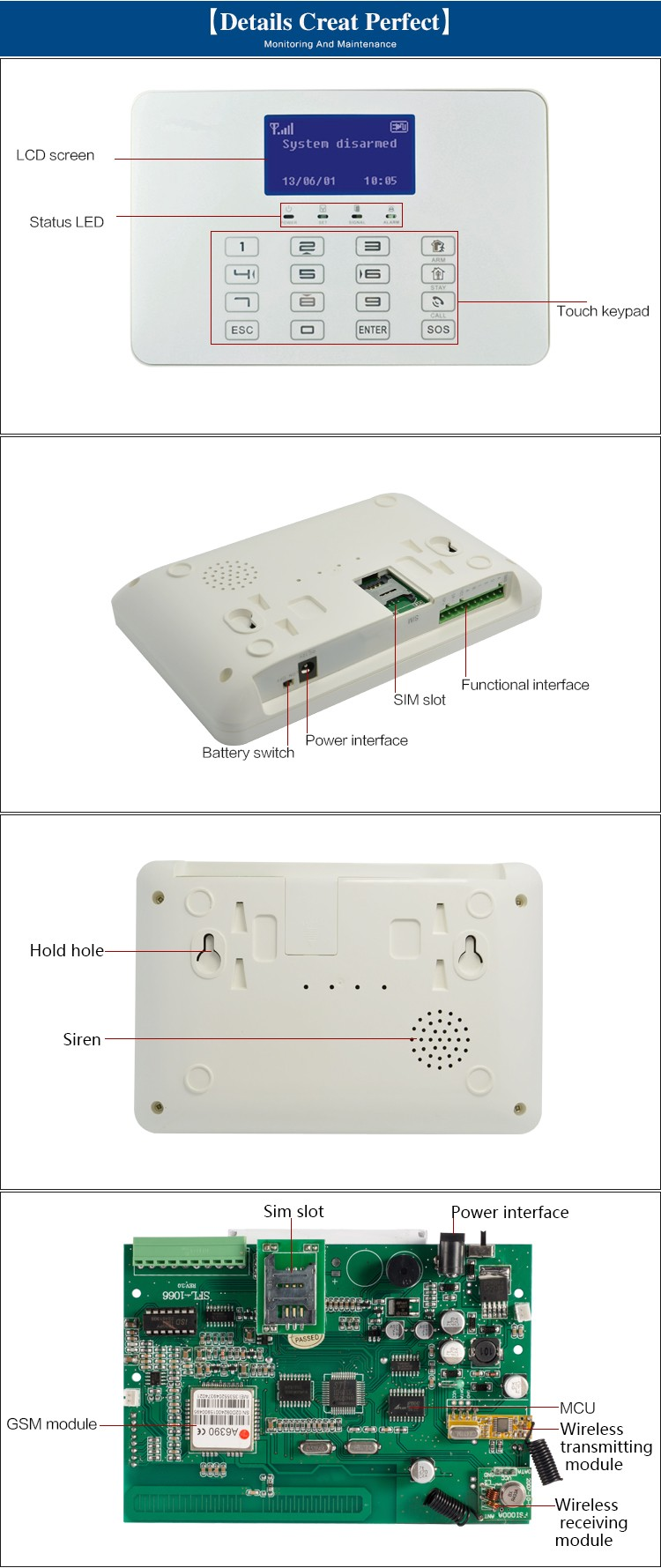 Smart Easy Operated LCD Touch Screen Mobile Call GSM Alarm System Home With Auto Dial