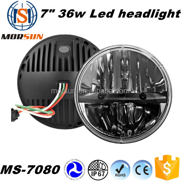 "New 36w led headlight Jeep wrangler led headlight offroad 4x4 led lights 7"" 36w round led headlight"