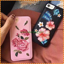 National style retro embroider pink flower imitation leather hard PC phone case for iphone 6 6plus