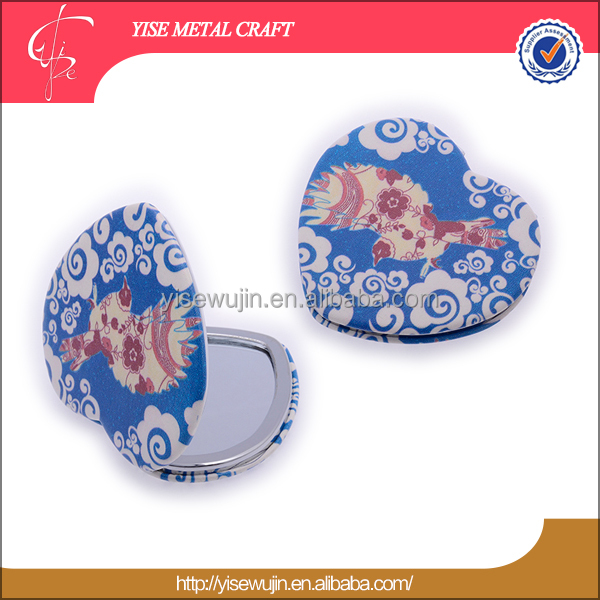 Wholesale waterproof heart shape makeup handheld mirrors