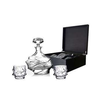 900ml glass whiskey decanter with customized black wood box set