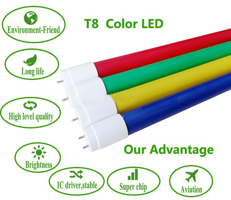 new-lights led T8 RGB colorful tube glass tube led lighting lamp 0.6m-1.5m RA80 100lm/w