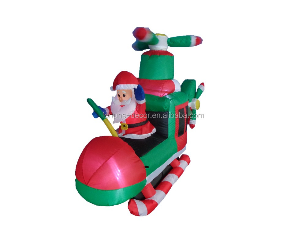 2015 NEW product 150cm/5ft inflatable santa flies an airplane of new styles for Christmas decoration