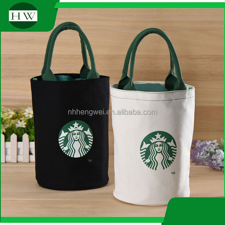 custom starbucks supermarket round canvas cotton eco recycle reusable tote shopping bag