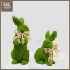 Custom paper mache animals paper mache flocked rabbit paper pulp decoration