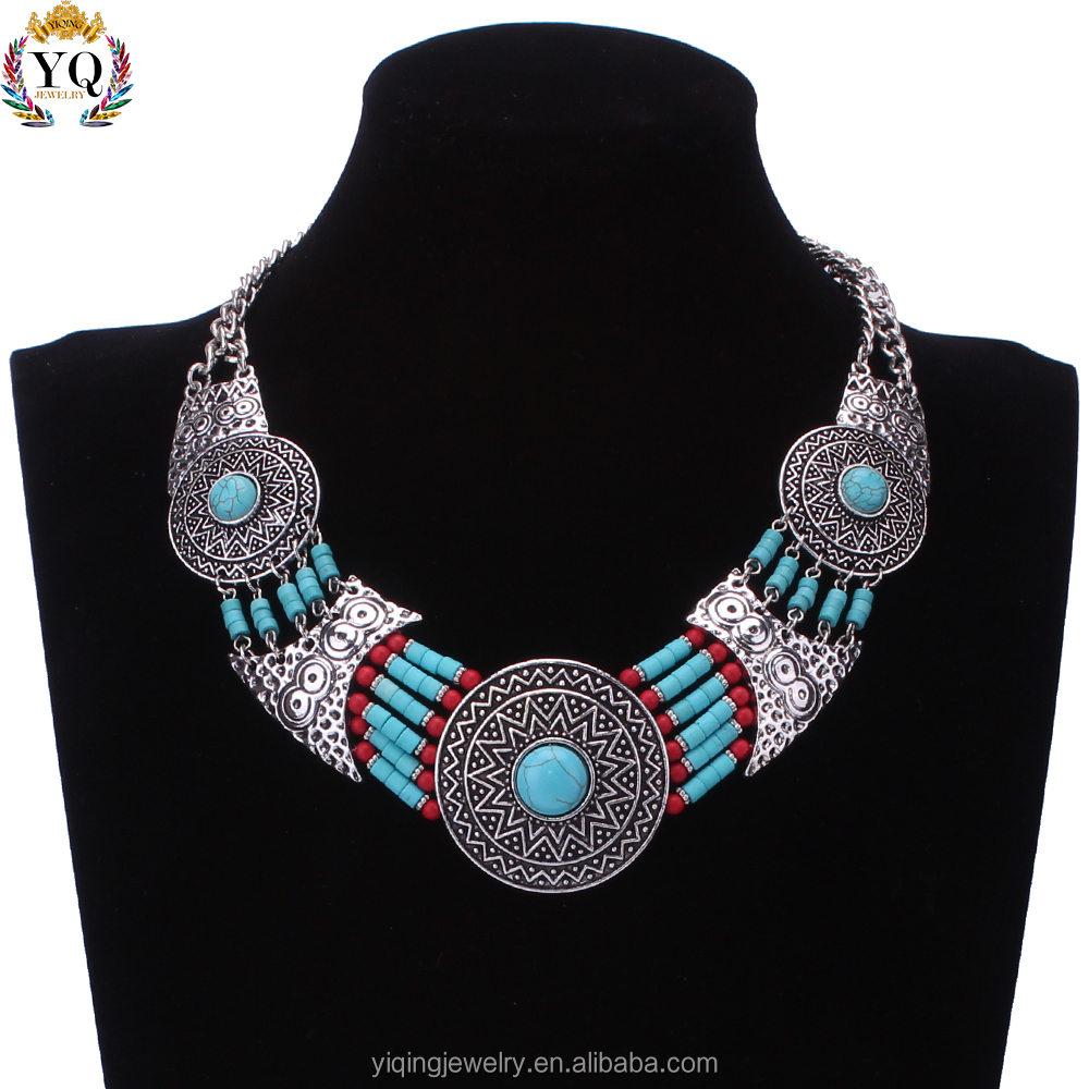 NYQ-00451 fashion natural blue stone beaded silver necklace jewelry handmade