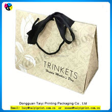 Customized printed ribbon tie gift bags, apparel packaging bags for T-shirt