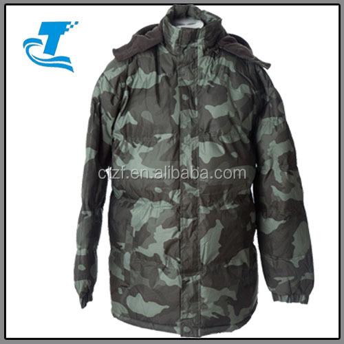 Hot sale custom camouflage winter coat men waterproof bubble jacket