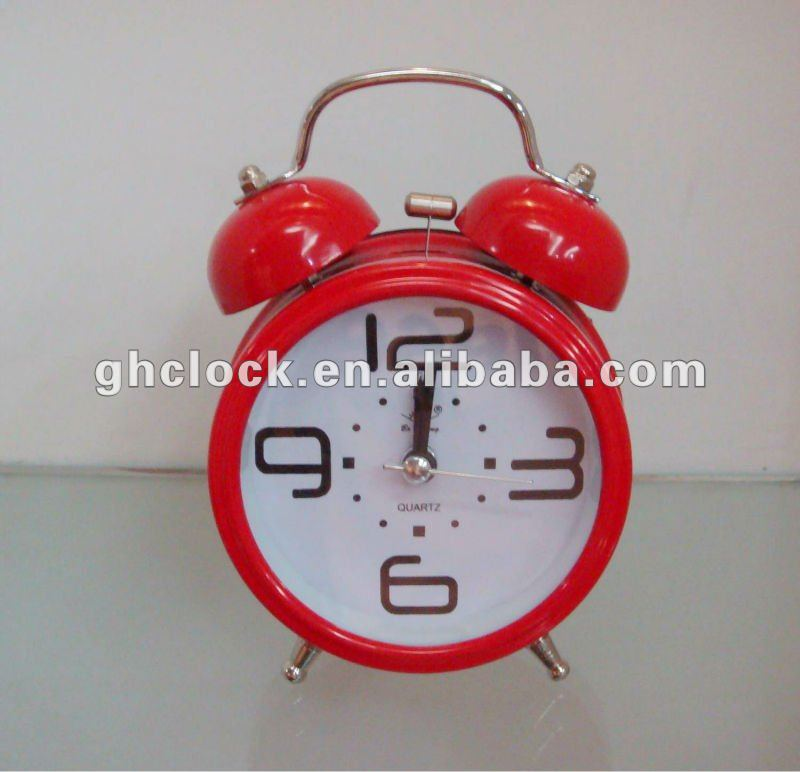 2015 Hot Red Sweep Movement Metal Bell Double Table Clock(S32)