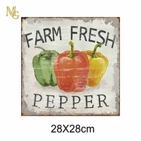 Three Color Pepper Vintage Wall Hangings Outdoor Metal Sign Frames