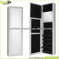 Wooden jewelry armoire raw furniture with mirror