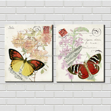 Wall Art Picture Home Decoration 2 Panel Lovely Butterflies Still Life Oil Painting Canvas Giclee Prints