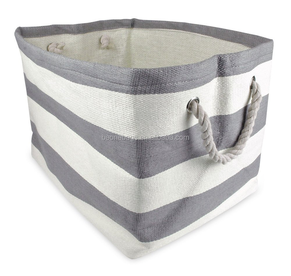 home office collspsibe fabric storage bin with rope