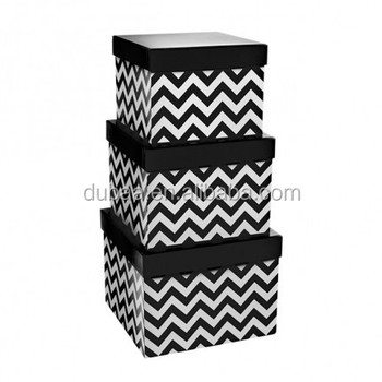 Gift Box Chevron Square Black/Red/Baby Blue/Baby Pink Set of 3,Paper Gift Box Set Gift Packaging Box