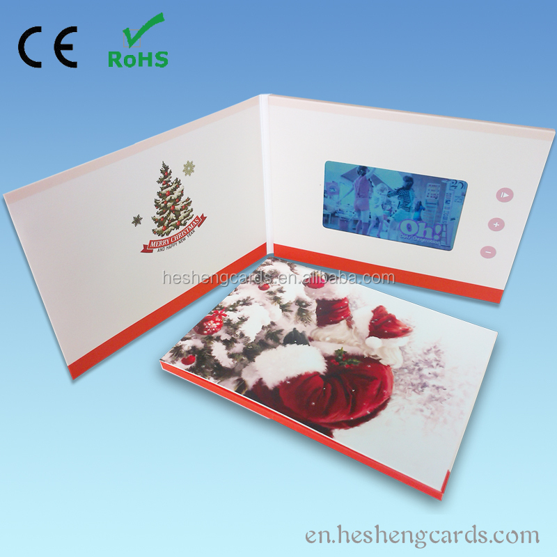 Custom christmas lcd video greeting card 4.3 480*272 128MB