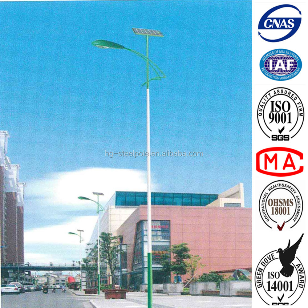 12 meters New Model Energy Saving Solar LED street light poles , hot dip galvanized and powder coated