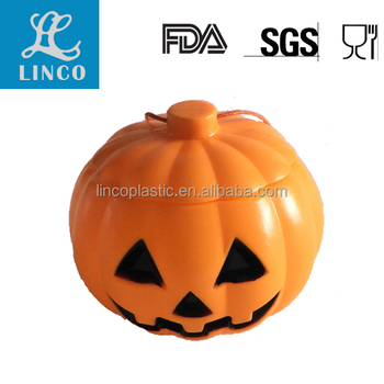 Plastic Pumpkin Shaped Candy Box For Halloween