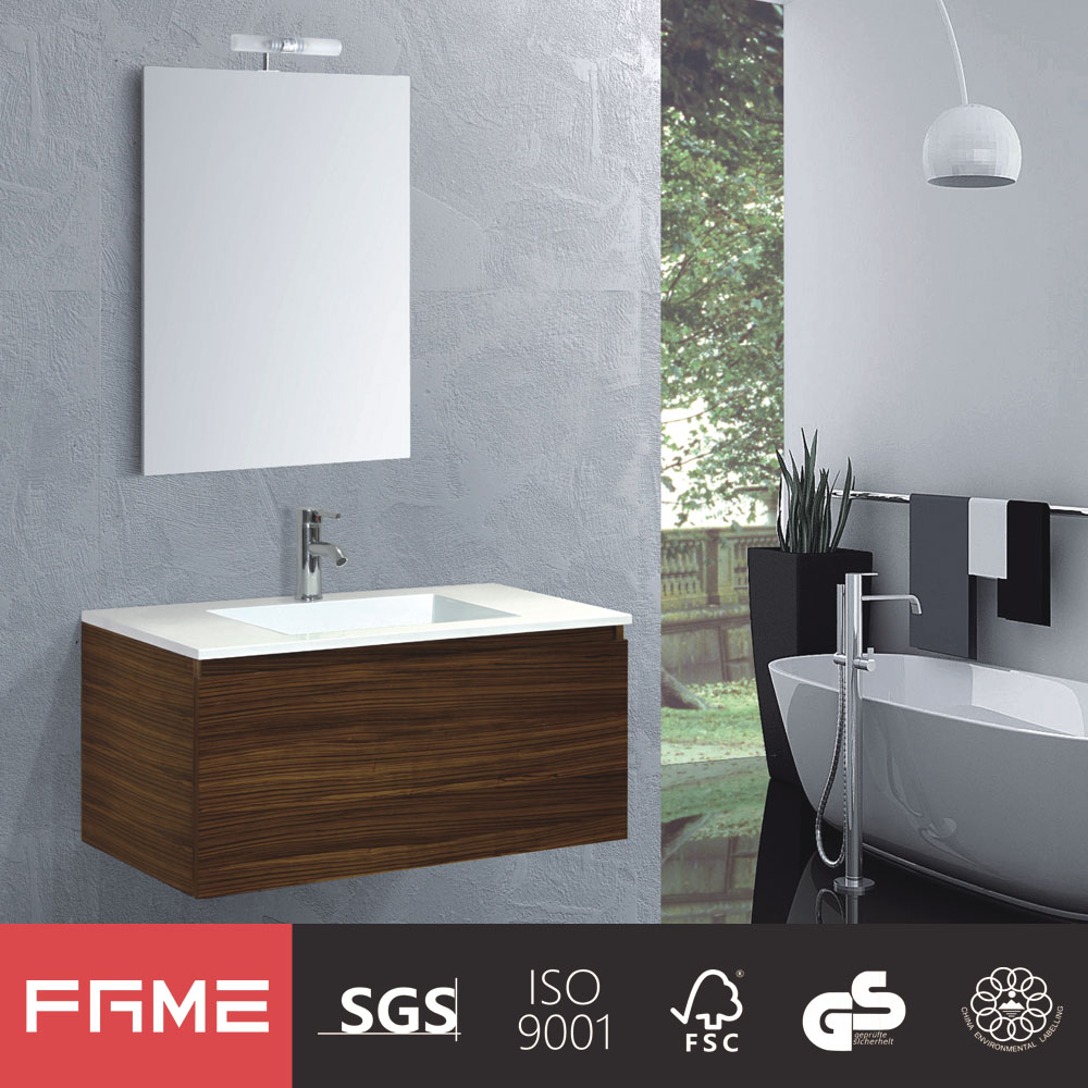 Hangzhou custom wood veneer PVC Membrane Bathroom Vanities