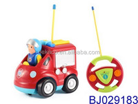 2ch Cartoon R/C Fire Truck Radio Control Toy for Toddlers with Light and Music