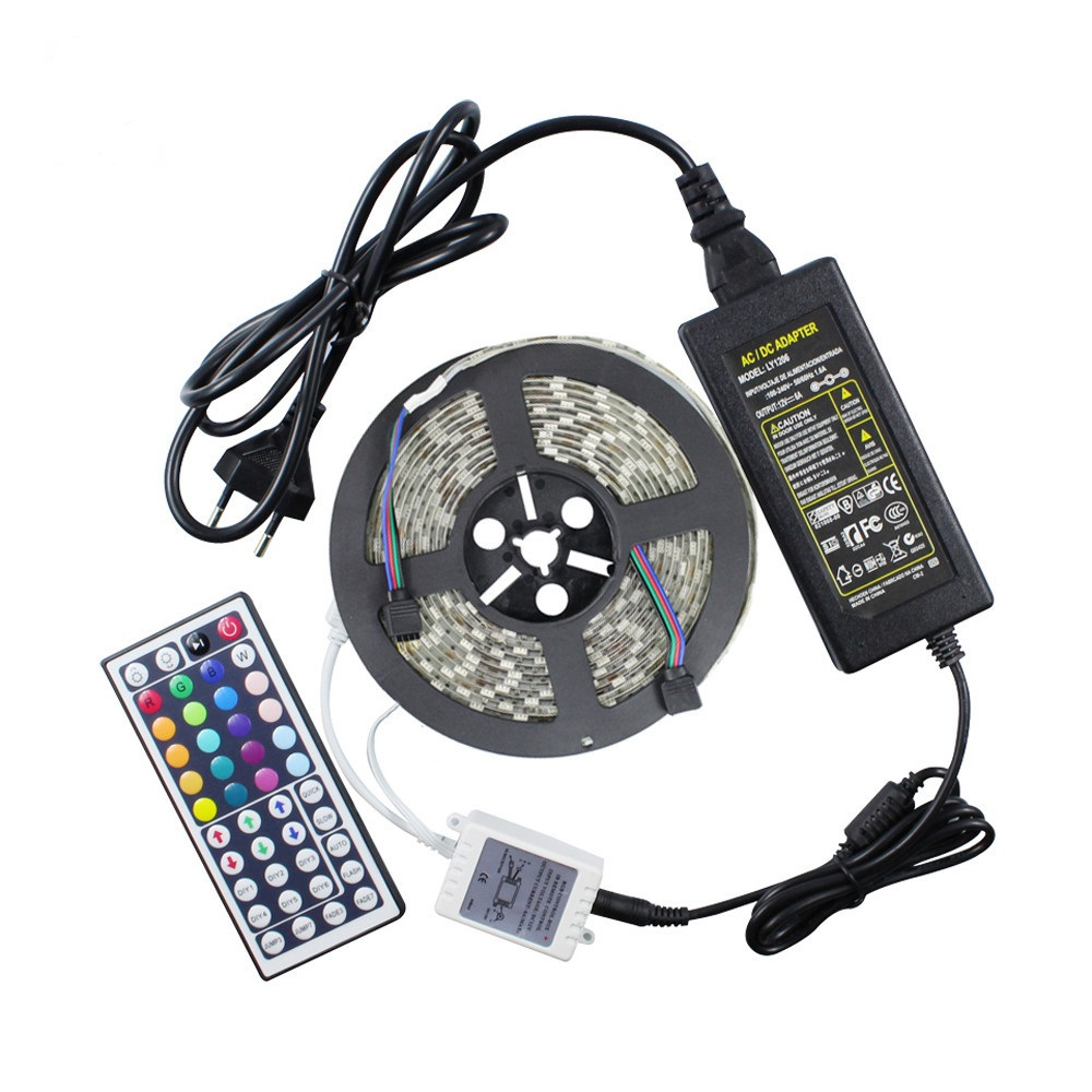 DC12V Waterproof 60LED/<strong>M</strong> +44 Keys Remote Controller+12V 5A Power Adapter SMD5050 waterproof RGB led strip