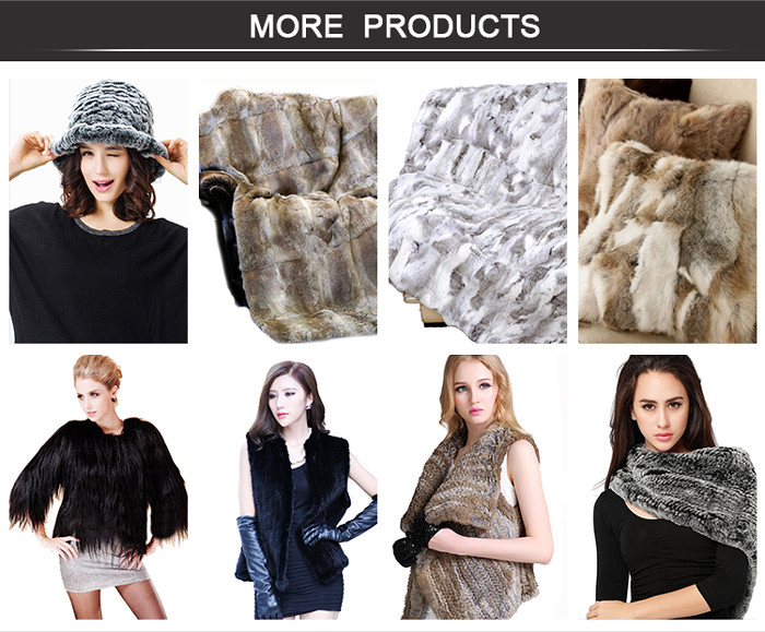 CX-D-11 High Quality Patchwork Real Rabbit Fur Throw Fur Blanket Fur Carpet