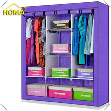 Dust-proof steel frame colorful kids wardrobe diy storage