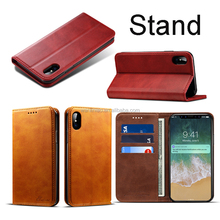 Luxury stand design wallet flip leather cover for iphone x soft tpu card slot leather case for iphone iphone x