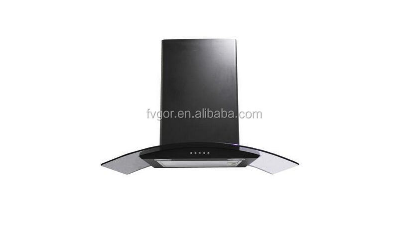 90cm Black Curved Glass Push Button Control Cooker Hood