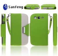 Double color cheap price leather phone case for samsung galaxy s3,for samsung galaxy s3 case