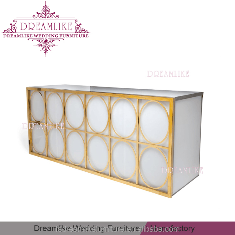 double layers tempered glass top rectangle white led cabinet bar for pub