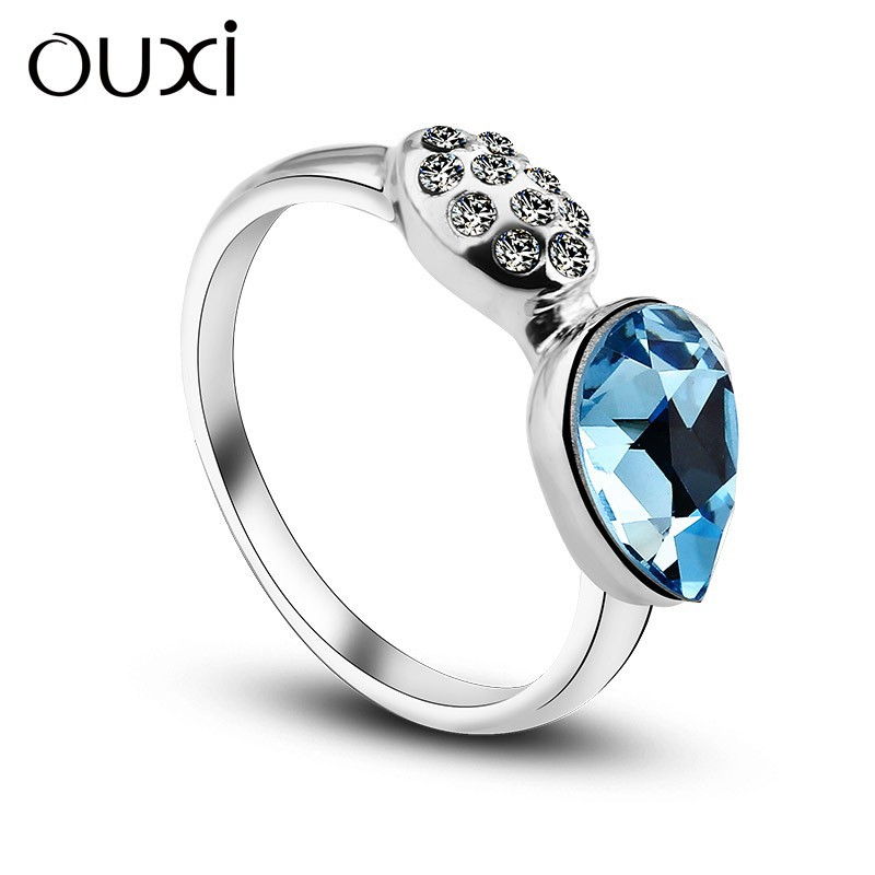OUXI heart shaped Colorful crystal&diamond blue natural ruby ring 40157-1