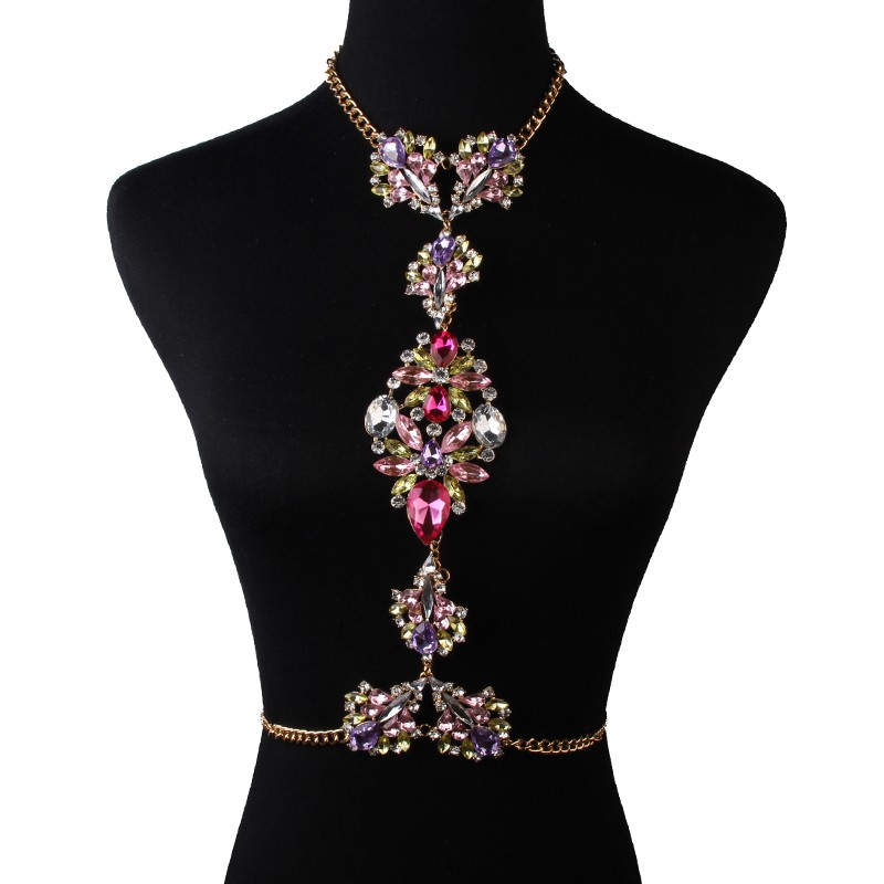 Dvacaman Fashion Jewelry Hot Sale Body Chain Multicolor Crystal Rhinestone Bead Collar Necklace Long Statement Jewelry 21710B