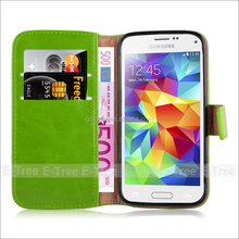 Factory Price Lichee Wallet Flip PU Leather Case Cover green color for samsung galaxy S5 mini