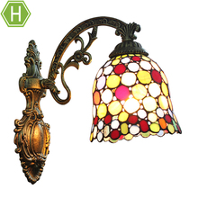 Indoor Cheaper Price Vintage Glass Colorful Metal Fixture Mounted Art Deco Wall Lamp Lights