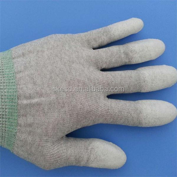 ESD Antistatic PU Top Fit Gloves / PU Finger Coated ESD Gloves